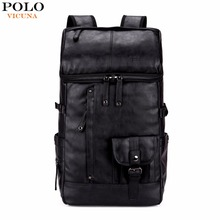 VICUNA POLO High Capacity Large Mens Travel Backpack Bag Black Leather Man Backpack For Trip Laptop Backpack mochila masculina(China)