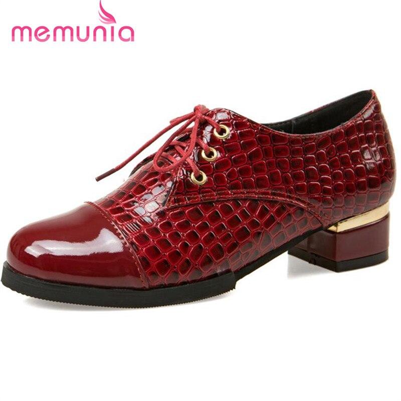 MEMUNIA 2017 Office lady work shoes elegant mature lace-up women shoes big size 34-43 solid pu four seasons oxfords single shoes<br><br>Aliexpress