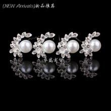 New Arrival 20pcs Crystal Rhinestone Pearl Flower Women Wedding Bridal Hair Pin Clips Slides Hair Jewelry Free Shipping