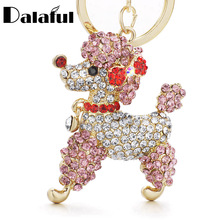 Dalaful Lovely Poodle Dog Bowknot Crystal Keychains Keyrings For Car Women Alloy Purse Bag Key Chain Ring Holder K307(China)