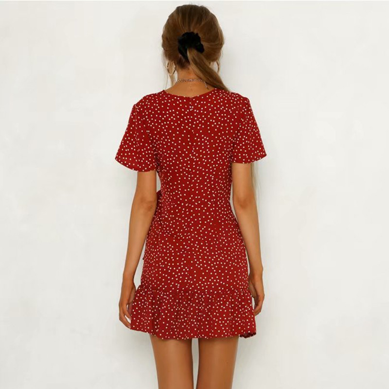 yinlinhe Red Polka Dot Dress Women V neck Summer Dress Cross Lace Up Slim Sexy Mini Vintage Ruffles Bodycon Vestido  4