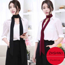 Narrow scarf women scarves spring and summer solid color chiffon long scarf belt black and white small scarf ribbon