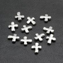 50pcs / lot Ancient Silver Charms Crosses Beads Pendants Make Easter gift accessories and finding 14x12mm PJ045(China)
