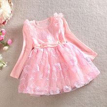 Wholesale New 2015 Autumn Children's Clothing Girl Dress Lace Flower Girls Fall Dresses One-piece Princess Dresses