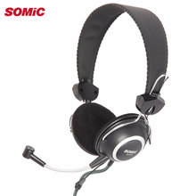 Somic SH818 Professional 3.5mm Wired Headphones Headset with Microphone for PC Computer Over Ear Headphones(China)