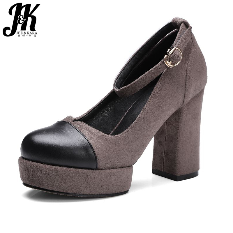 J&amp;K New Fashion Women Pumps Platform Shoes Mature Flock High Heeled Casual Party Metal Buckle strap Patch Round toe Thick heels<br><br>Aliexpress