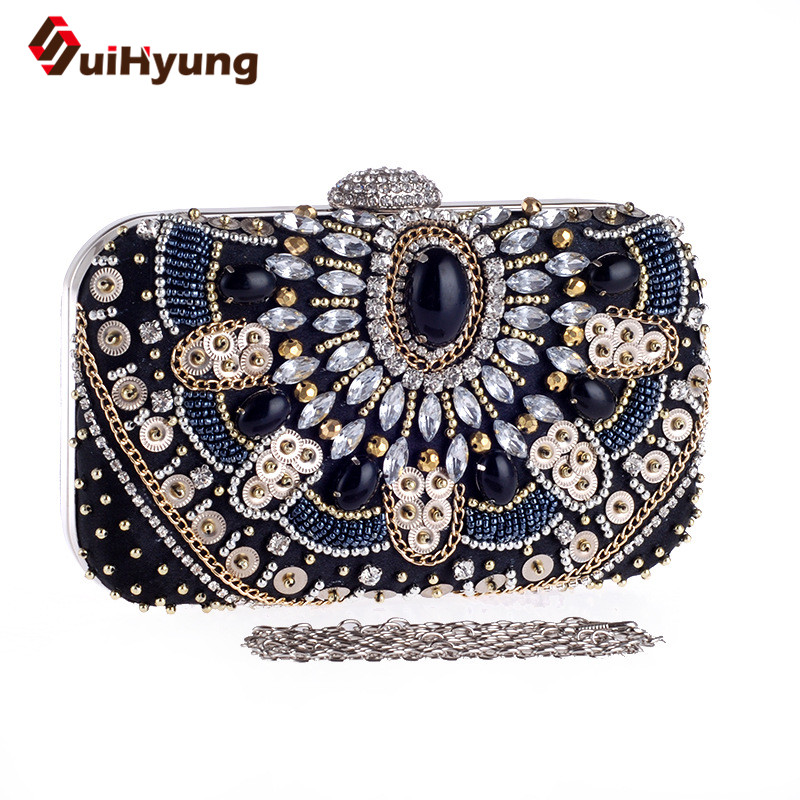 Female Vintage Beading Clutch Bags Shine Diamond Sequins Patchwork Party Evening Bags Wedding Women Day Clutch Ladies Handbags<br><br>Aliexpress