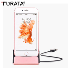 Turata Data Charging Dock Station Desktop Charger Base Stand Holder For Apple iPhone 5 5S SE 6s 6 7 Plus 8 X With Usb 3.1 Cable(China)
