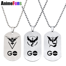 New Pokemon Go Necklace Game Anime Stainless Steel Team Valor Mystic Instinct Logo Beads Chain Google Game Pendant(China)