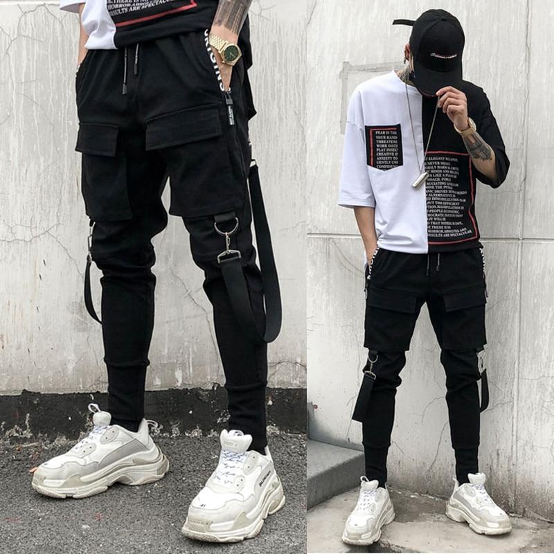 Mens Hip Hop Pocket Cargo Harem Pants Punk Rock Casual Street Jogger Trouser New