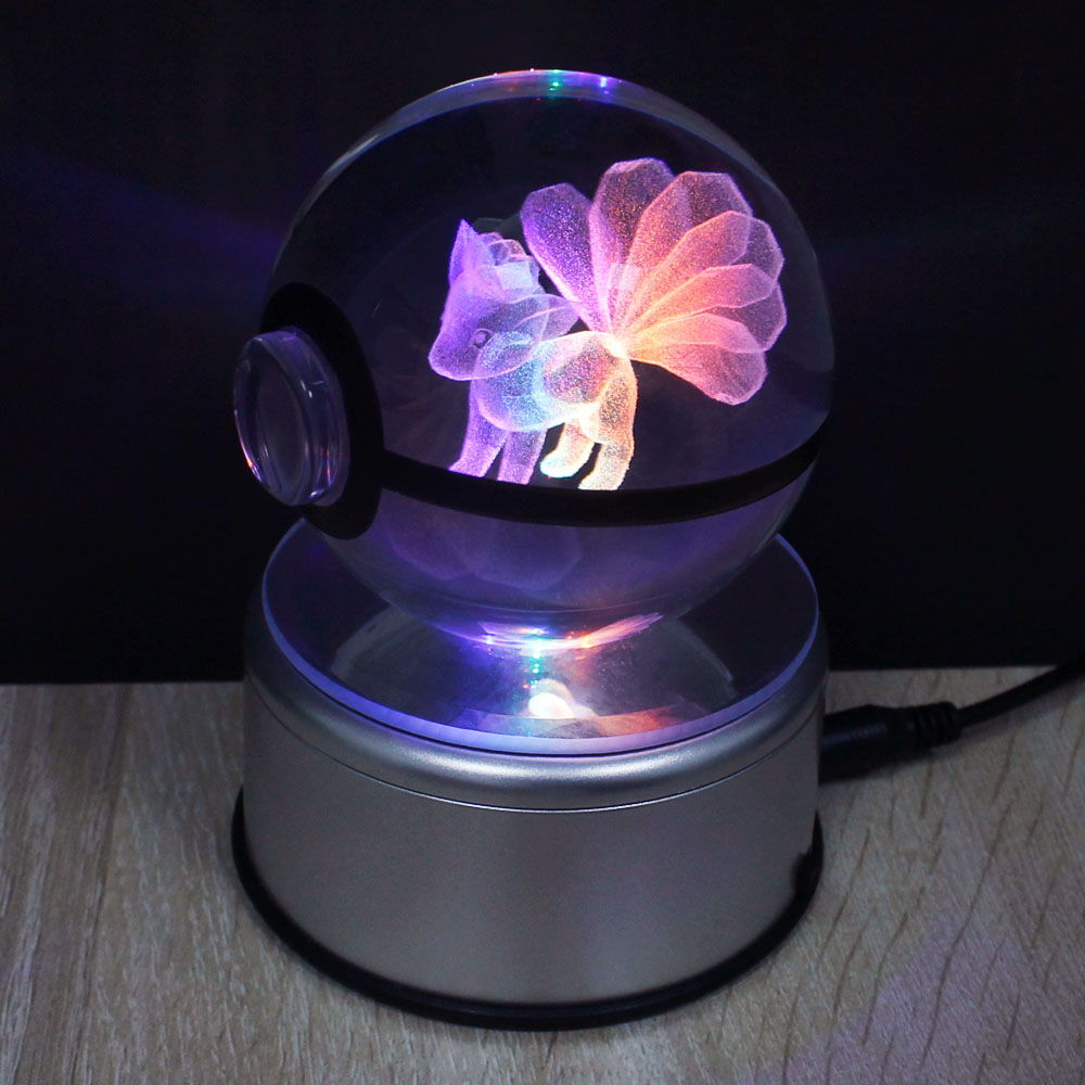 Ninetales 3D Crystal Ball Pokemon Go Light Glass Ball Engraving Round With Black Line Ball LED Colorful Base Childs Gift<br>