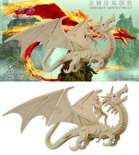 3D wooden model DIY puzzle toy baby birthday gift hand work assemble wood game dragon warrior woodcraft construction present 1pc