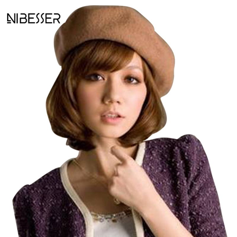 NIBESSER Solid Color Women's Girl's Beret Female French Artist Warm Wool Winter Beanie Hat Black White Gray Pink Boinas De Mujer(China)