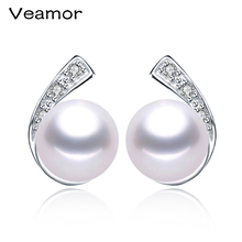 High quality 925 Sterling Silver Jewelry For Women Natural Freshwater Real Pearl Earrings Stud Earings Factory Wholesale 8-9mm(China)