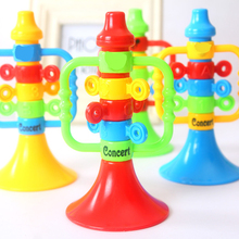 1PC Hot Sale Ceative Kids Baby Cute Plastic Colorful Trumpet Children Musical Instruments Educational Bugle Hooter Birthday Toys