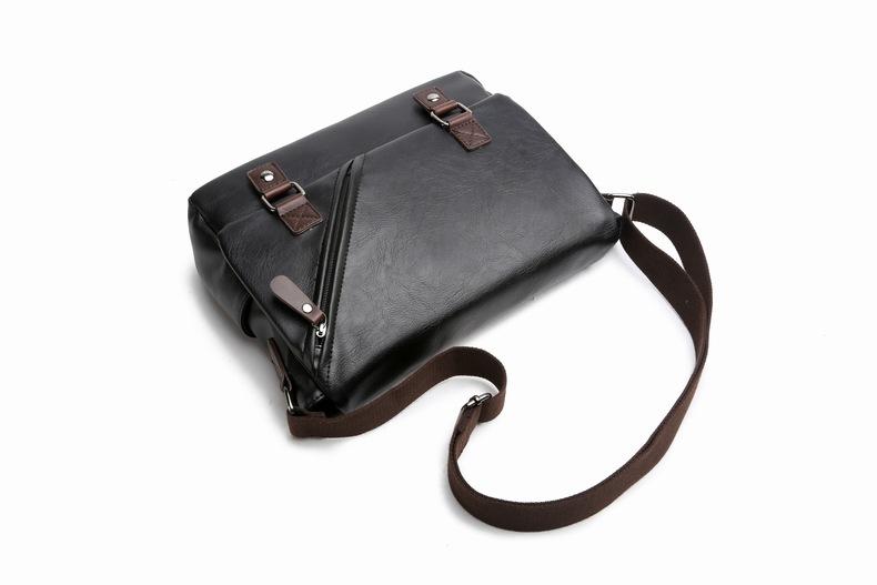 MJ Men\`s Bags Vintage PU Leather Male Messenger Bag High Quality Leather Crossbody Flap Bag Versatile Shoulder Handbag for Men (26)