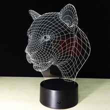3D Lamp Leopard Head,3D Visual LED Touching Night Light,3D LED Creative Visual Light with 7 Colorful(China)