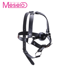 Buy Meselo Face Bondage Leather Mouth Gag Ball Adult Games bdsm Sex Toys Women Men Open Mouth Gag Oral Stuffed Couple Flirting