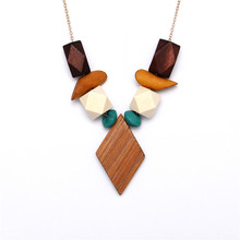 2017 New Design Multicolor Geometric Wood Pendant Necklace For Women Bohemia Vintage Snake Chain Necklaces Bijoux