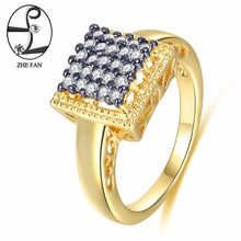 ZHE FAN Jewelry Ring White Geometric Square AAA Cubic Zirconia Black Gold Color Two Tone Plating Vintage Rings For Gift Size 6-9(China)