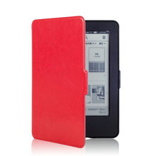 Ultra slim leather cover case for Amazon 2014 new kindle touch 7 7th generation eBooks ereader+screen protector+stylus