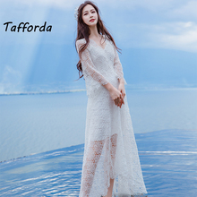 Tafforda 2018 Spring Model Crochet Lace Hollow Sexy V-neck Holiday Casual Dress Woman Dresses Female Dress Party and Wedding(China)
