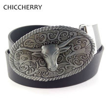 Men's PU Leather Belts with Vitage Bull Western Country Cowboy Big Belt Buckle For Men Jeans Cinturon Hombre Cintos Para Homens