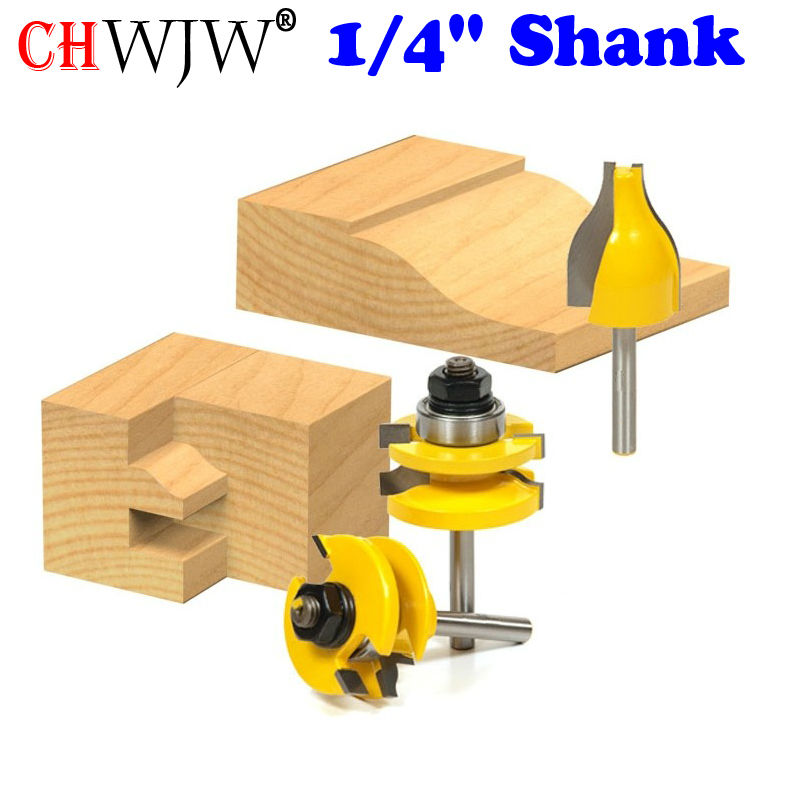 Rail and Stile w/ Vertical Panel Raiser 3 Bit Set Ogee 1/4 Shank Woodworking cutter Tenon Cutter for Woodworking Tools<br>