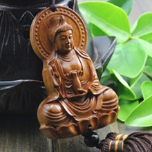 Wood Carving & Buddha Beads Chinese Buddhism Halloween gifts Shakyamuni Statue Sculpture Amulet Car Pendant Netsuke AHJ004(China)