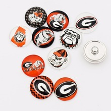 50 PCS Mixed NCAA Of Georgia Bulldogs Snap Buttons 18MM Round Glass Sports Snap Charm Fit Snap Bracelet Necklace(China)