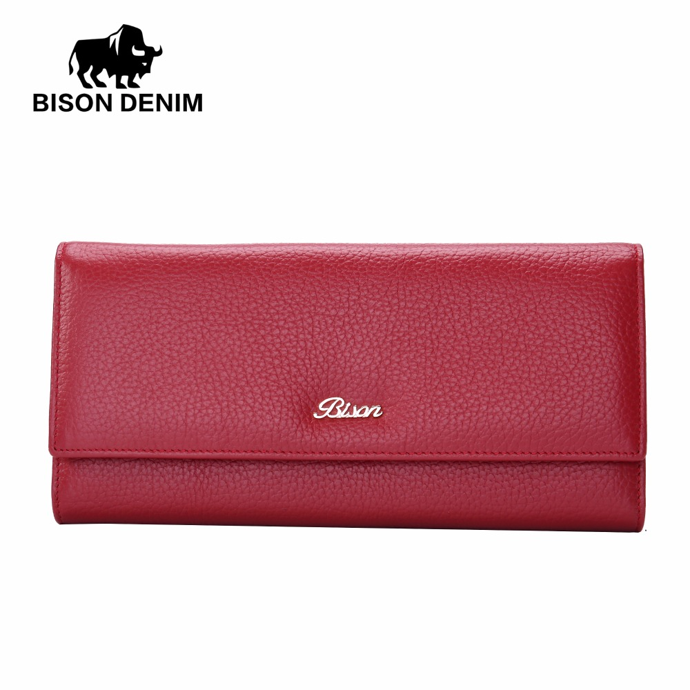 BISON DENIM New Genuine Leather Fashion Long Women Wallets Designer Brand Clutch ID Bank Credit Card Purse Ladies Party N3251<br>