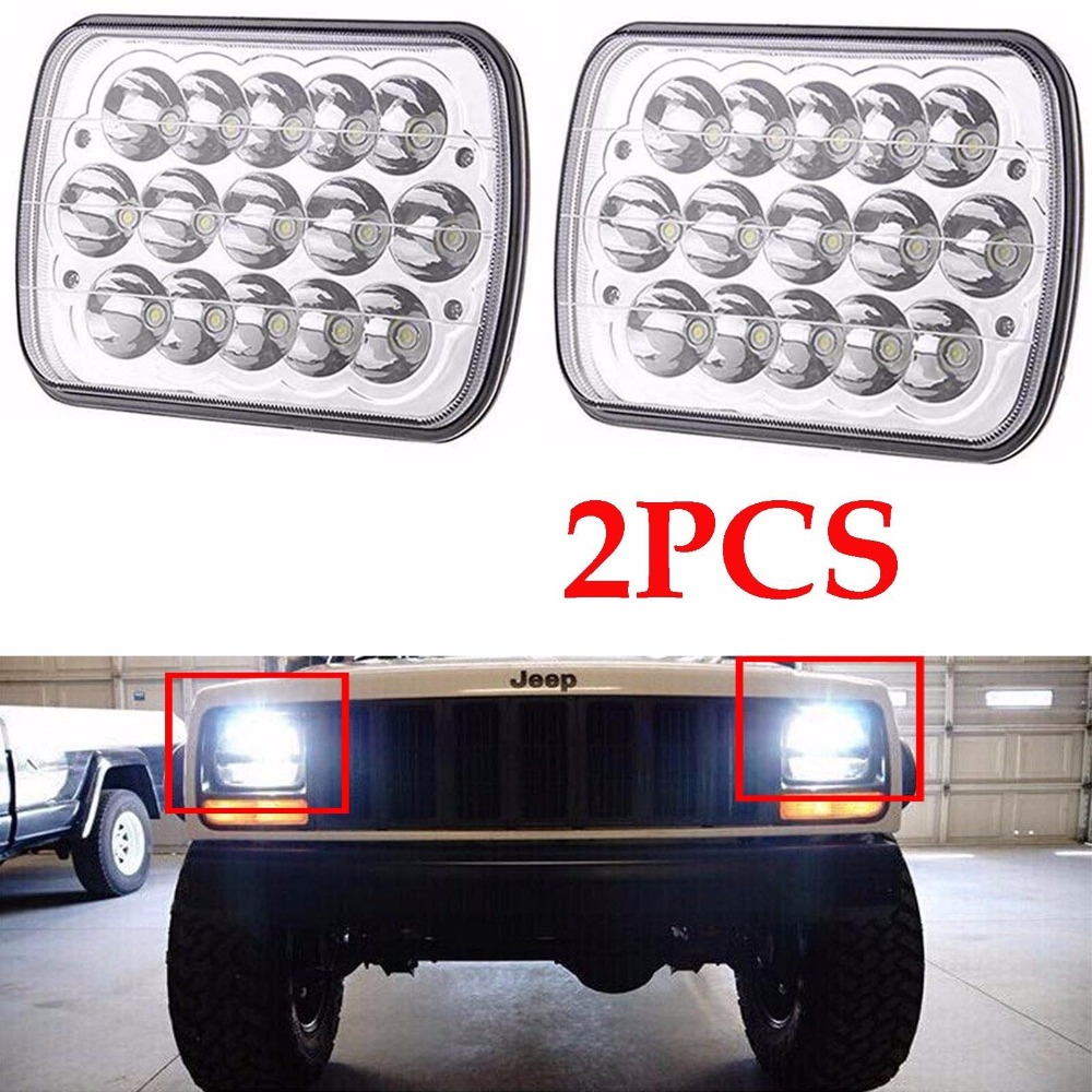 Silver 7 x6 inch Square led head lights  For Ford Van Jeep XJ YJ H4 High Low Beam Headlight 5 x 7 Led Headlamp<br>