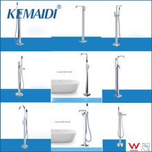 KEMAIDI New Arrival WELS and CUPC Bathroom Floor Standing Bath Tub Faucet Mixer Set & Hand Held Shower Spray Chrome Solid Brass(China)