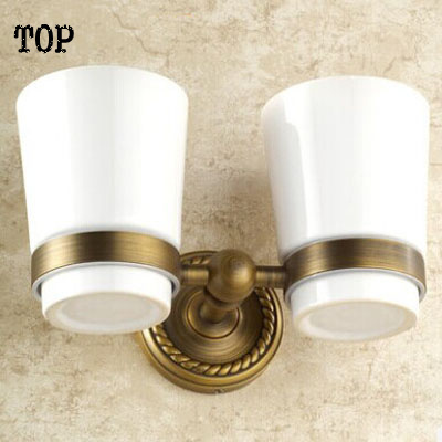 Free Shipping Bathroom Accessories Products antique Solid Brass bronze Finished Double Cup Holder Rack,Toothbrush Holder<br><br>Aliexpress