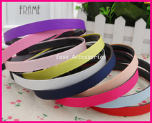 20PCS 12mm Assorted Colors Grosgrain Ribbon Lined Black Plain Plastic Hair Headbands with teeth at eco-friendly wholesale