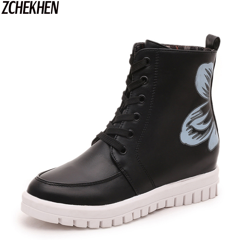 ZCHEKHEN Women Fashion Creepers Flats Shoes Autumn Ankle Big Flower Printing Boots Casual Women Boots<br><br>Aliexpress