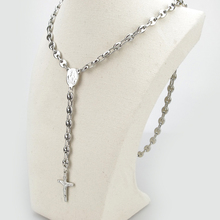 55CM*6MM Fashion Stainless Steel Rosary Cross Necklace Bead Chain Men Jewelry HZB020(China)