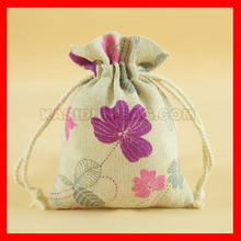 100pieces/lot small drawstring linen cotton fabric bag gift(China)