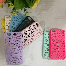 1pce Fashion 3D Hollow Net Shell phone case cover for iphone 4/5 protective shell hollow breathable colorful Free Shipping