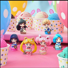 6PCS/SET Cute Anime Sailor Moon Petit Chara Land Ice Cream Party PVC Action Figure 5cm no box(Chinese version)