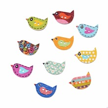 50Pcs/lot Mixed Color mix Cute Birds Botones 2 Holes Printing Wooden Buttons Scrapbooking Sewing Accessories Knopf 22*16mm