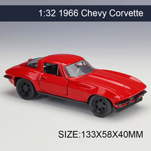 1:32 Diecast Model Car 1966 Chevy Corvette Vehicle Play Collectible Models Sport Cars toys For FAST AND FURIOUS