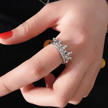 Womens Hollow Queen Crown Rhinestone Silver Plated Ring Wedding Jewelry  8JF9