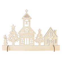 New Year Wooden Christmas Decor Woodland Church Ornament Handcraft for Christmas