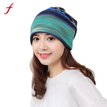 Fetiong Casual Caps High Quality Warm Women hat Stripe Hat Ruffle Cancer Knitted Hats Beanie Scarf Collar Turban Head Wrap Cap(China)