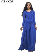 Buy VISNXGI Long Sleeve Plus Size Plus Size Dress 2018 Autumn Woman Round Neck Dress Sexy Dresses Long Floor-Length Elegant Vestidos for $18.91 in AliExpress store