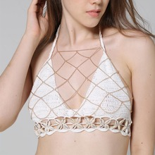Boho Fashion Gold Color Net Grid Tassel Harness Necklace Body Jewelry Sexy Bikini Belly Waist Metal alloy Bra Chain Body Chain