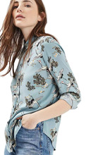 Spring Fashion Swan printing Blusas Shirts Work Office cotton Casual Blouse Shirt Blue Cotton Women Vintage blusa Women Tops