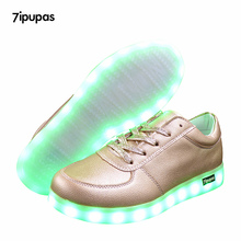 7ipupas Kids Led sneakers Luminous Sneakers Boys Girls Matte Glod Lighted Shoes Fashion Lace-Up Trainers Children Casual Shoes(China)