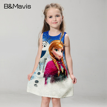New Girls Dress Quuen Snow Anna Elsa Dresses Christmas Party Formal Dress For Girls Clothes 2016 Summer Children Clothing 2-10T